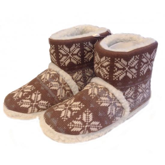 Pantoufles Marron Avec Impression D'hiver EeDCI3JZak