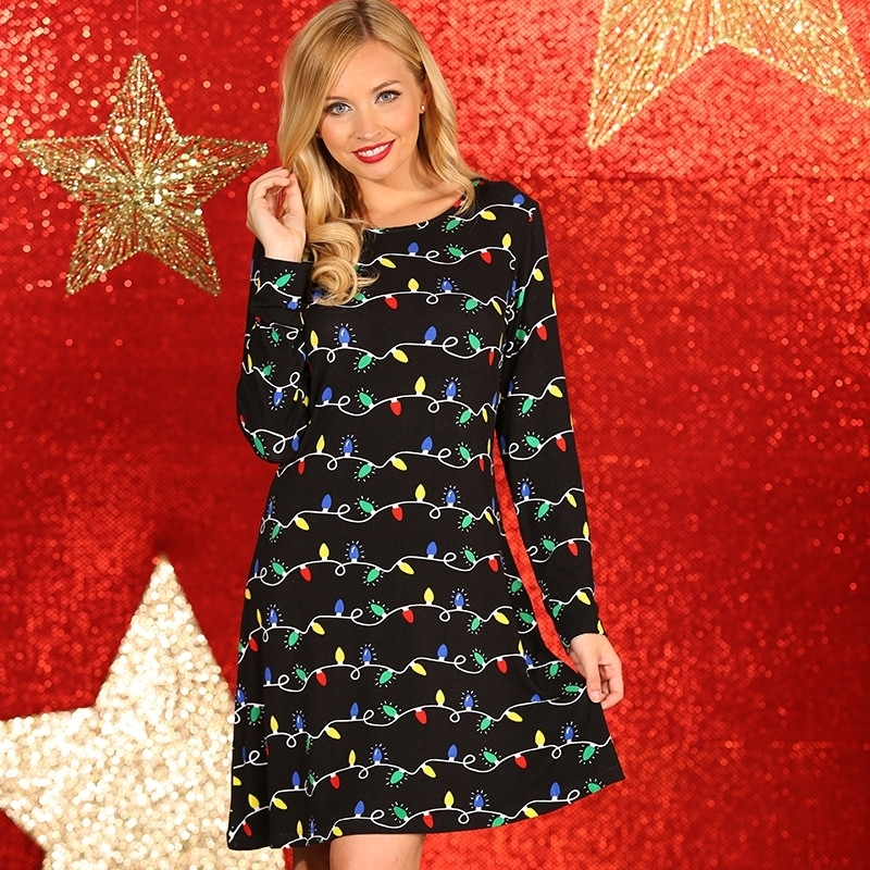 Foute Kersttrui Jurk.Kerstmis Jurk Zwart Met Lampjes Print Sloffen Pantoffel Winkel
