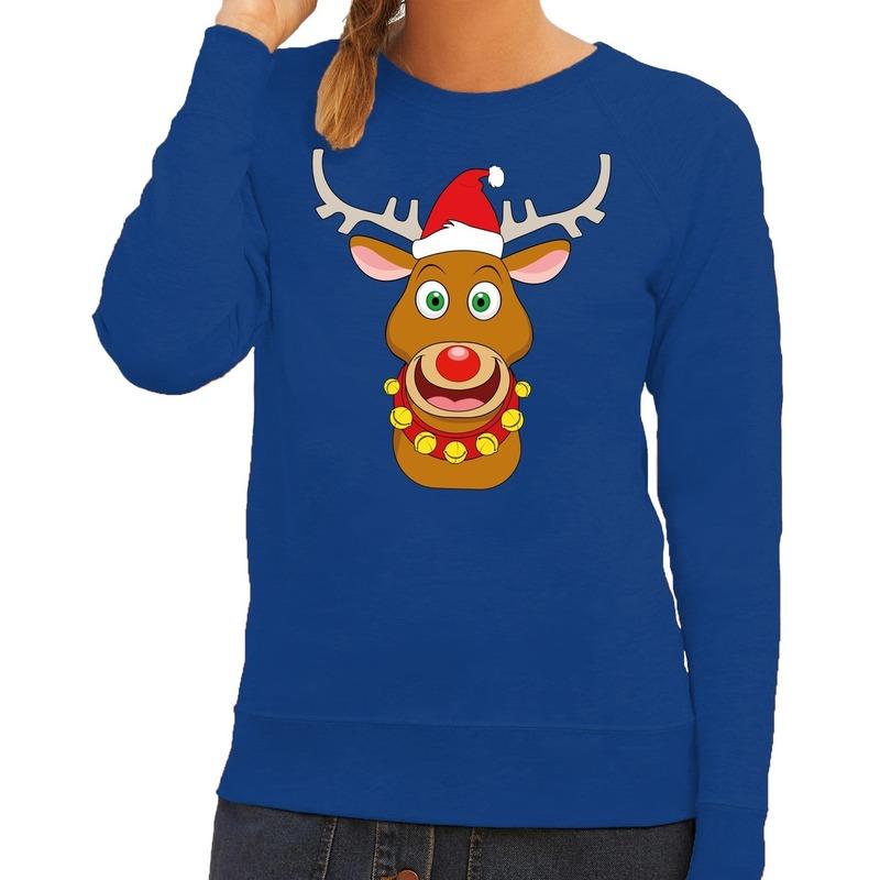 Foute Kersttrui Dames.Foute Kersttrui Rendier Rudolf Met Rode Kerstmuts Blauw Dames