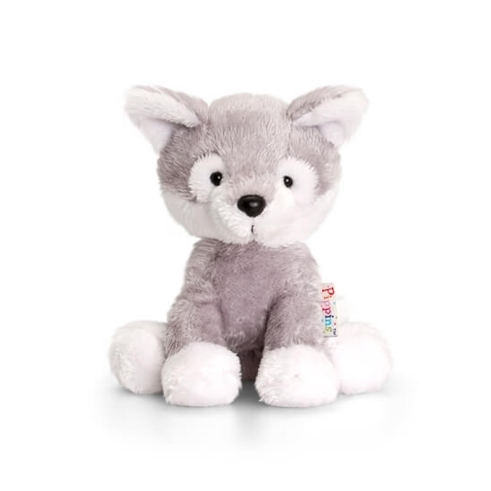 80888353d177a1 Zittende husky knuffel hond pluche 14cm sloffen/ pantoffel winkel